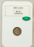 Seated Half Dimes, 1857-O H10C MS64 NGC. CAC....