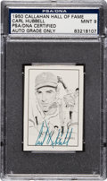 Baseball Cards:Singles (1950-1959), Signed 1950 Callahan Hall of Fame Carl Hubbell PSA/DNA Mint 9. ...