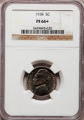 Proof Jefferson Nickels: , 1938 5C PR66+ NGC. NGC Census: (429/191). PCGS Population(762/236). Mintage: 19,365. Numismedia Wsl. Price for problemfre...