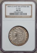 Bust Half Dollars: , 1834 50C Large Date, Small Letters AU55 NGC. O-105. PCGS Population(75/154). (#6165)...