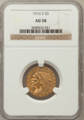 Indian Half Eagles: , 1916-S $5 AU58 NGC. NGC Census: (568/906). PCGS Population(199/760). Mintage: 240,000. Numismedia Wsl. Price for problem f...