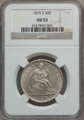Seated Half Dollars: , 1875-S 50C AU53 NGC. NGC Census: (5/224). PCGS Population (6/272).Mintage: 3,200,000. Numismedia Wsl. Price for problem fr...