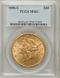 Liberty Double Eagles: , 1890-S $20 MS61 PCGS. PCGS Population (270/658). NGC Census:(599/452). Mintage: 802,750. Numismedia Wsl. Price for problem...