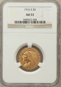 Indian Half Eagles: , 1916-S $5 AU53 NGC. NGC Census: (59/1647). PCGS Population(43/1130). Mintage: 240,000. Numismedia Wsl. Price for problem f...