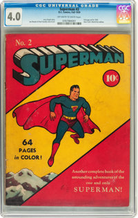 Superman #2 (DC, 1939) CGC VG 4.0 Off-white to white pages