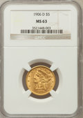 Liberty Half Eagles: , 1906-D $5 MS63 NGC. NGC Census: (592/472). PCGS Population(542/304). Mintage: 320,000. Numismedia Wsl. Price for problem f...