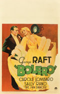 "Movie Posters:Drama, Bolero (Paramount, 1934). Window Card (14"" X 22"").. ..."