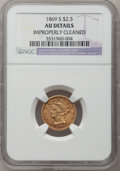 Liberty Quarter Eagles: , 1869-S $2 1/2 -- Improperly Cleaned -- NGC Details. AU. NGC Census:(19/116). PCGS Population (13/54). Mintage: 29,500. Num...
