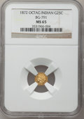 California Fractional Gold: , 1872 25C Indian Octagonal 25 Cents, BG-791, R.3, MS65 NGC. NGCCensus: (10/1). PCGS Population (14/3). (#10618)...