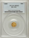 California Fractional Gold: , 1880 50C Indian Octagonal 50 Cents, BG-954, Low R.4, MS63 PCGS.PCGS Population (29/47). NGC Census: (2/1). (#10812)...