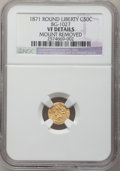 California Fractional Gold: , 1871 50C Liberty Round 50 Cents, BG-1027, R.3, -- Mount Removed -- NGC Details. VF. NGC Census: (0/20). PCGS Population (0/...