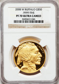 Modern Bullion Coins, 2008-W G$50 One-Ounce Buffalo PR70 Ultra Cameo NGC. Ex: .9999 Fine.NGC Census: (0). PCGS Population (348). (#393329...