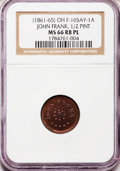 Civil War Merchants, (1861-65) John Frank 1/2 Pint, Cincinnati, OH MS66 Red and BrownProoflike NGC. Fuld-OH165AY-1a....
