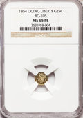 California Fractional Gold: , 1854 25C Liberty Octagonal 25 Cents, BG-105, R.3, MS65 ProoflikeNGC. NGC Census: (5/3). (#710374)...