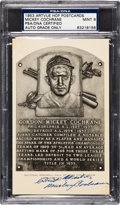 Autographs:Post Cards, 1953-55 Mickey Cochrane Signed Artvue Hall of Fame Plaque Postcard PSA/DNA Mint 9. ...