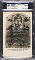 Autographs:Others, 1953-55 Carl Hubbell Signed Artvue Hall of Fame Plaque PostcardPSA/DNA Mint 9. ...