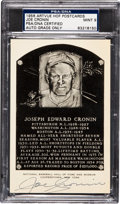 Autographs:Post Cards, 1956-63 Joe Cronin Signed Artvue Hall of Fame Plaque PostcardPSA/DNA Mint 9. ...