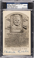 Autographs:Post Cards, 1946-52 George Sisler Signed Albertype Hall of Fame Plaque PostcardPSA/DNA Mint 9. ...