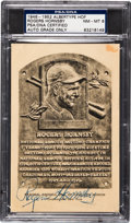 Baseball Cards:Singles (1940-1949), 1946-52 Rogers Hornsby Signed Albertype Hall of Fame PlaquePostcard PSA/DNA NM-MT 8. ...