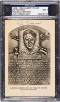 Baseball Cards:Singles (1940-1949), 1946-52 Pie Traynor Signed Albertype Hall of Fame Plaque PostcardPSA/DNA NM 7....