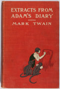 Books:Literature 1900-up, Mark Twain. Extracts From Adam's Diary. Harper, 1904. Laterimpression. Cracked hinges. Staining and foxing. Good....