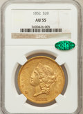 Liberty Double Eagles: , 1852 $20 AU55 NGC. CAC. NGC Census: (268/361). PCGS Population(85/150). Mintage: 2,000,000. Numismedia Wsl. Price for prob...