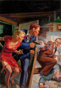 JOHN WALTER SCOTT (American, 1907-1987) Shoot-Out, Star Detective Stories pulp cover, July 1938 Oil