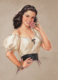 Paintings, JULES ERBIT (American, 1889-1968). Brunette Beauty. Pastel on board. 38 x 28 in.. Signed lower right. ...