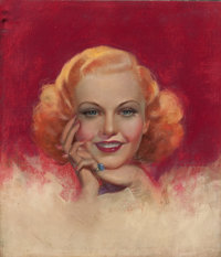 ZOE MOZERT (American, 1904-1993) Ginger Rogers, movie magazine cover, 1935 Pastel on board 21.25