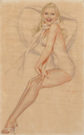 Pin-up and Glamour Art, ALBERTO VARGAS (American, 1896-1982). Esquire playing cardpreliminary art, 1945. Pencil and watercolor on vellum. 19.5...