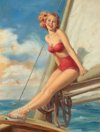 HOWARD CONNOLLY (American, b. 1903) Pin-Up Sailing Acrylic on board 30 x 22.5 in. Signed lower