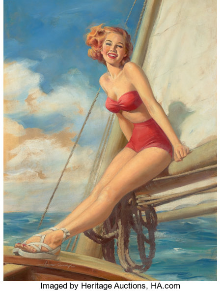 HOWARD CONNOLLY (American, b. 1903)Pin-Up SailingAcrylic on board30 x 22.5 in.Signed lower leftFrom the Es...