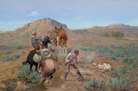 OLAF CARL SELTZER (American, 1877-1957) The Brand Rustlers Oil on canvas 20 x 30 inches (50.8 x 7