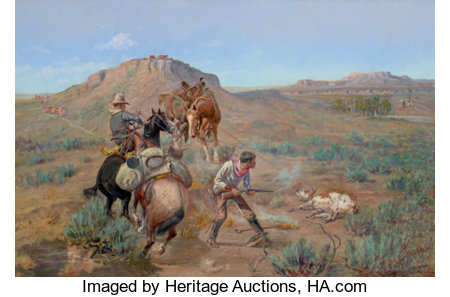 OLAF CARL SELTZER (American, 1877-1957) The Brand Rustlers Oil on canvas 20 x 30 inches (50.8 x 76.2 cm) Signed lowe...