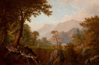 ALEXANDER FRANCOIS LOEMANS (Canadian/American, c. 1816-1898) Scene in the Rockies, 1865 Oil on linen
