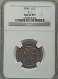 Half Cents: , 1834 1/2 C MS62 Brown NGC. C-1. NGC Census: (61/164). PCGSPopulation (35/143). Mintage: 141,000. Numismedia Wsl. Price fo...