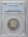 Seated Quarters: , 1867 25C AG3 PCGS. PCGS Population (1/59). NGC Census: (0/21).Mintage: 20,000. Numismedia Wsl. Price for problem free NGC/...