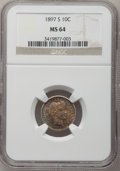 Barber Dimes: , 1897-S 10C MS64 NGC. NGC Census: (17/8). PCGS Population (36/15).Mintage: 1,342,844. Numismedia Wsl. Price for problem fre...