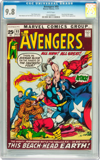 The Avengers #93 (Marvel, 1971) CGC NM/MT 9.8 White pages