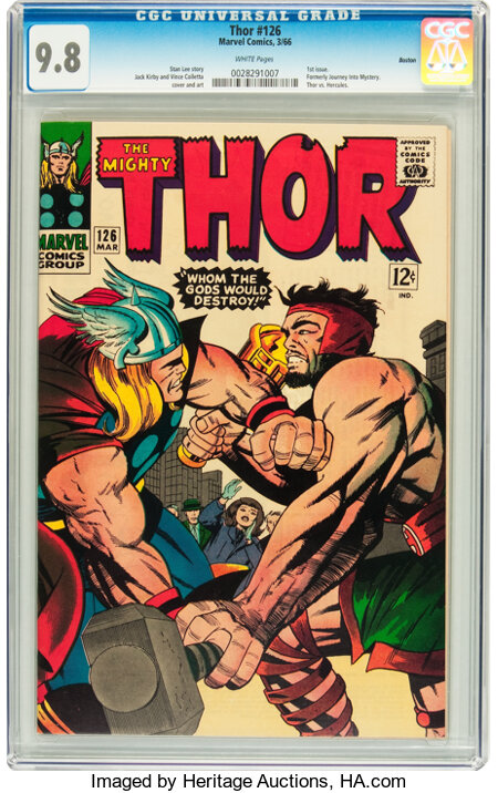 Thor #126 Boston pedigree (Marvel, 1966) CGC NM/MT 9.8 White pages....