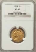 Indian Half Eagles: , 1914 $5 MS62 NGC. NGC Census: (776/521). PCGS Population (628/735).Mintage: 247,000. Numismedia Wsl. Price for problem fre...