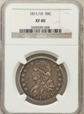 Bust Half Dollars: , 1811/10 50C XF40 NGC. NGC Census: (7/168). PCGS Population (21/78).Numismedia Wsl. Price for problem free NGC/PCGS coin i...