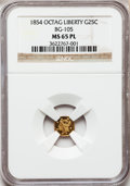 California Fractional Gold: , 1854 25C Liberty Octagonal 25 Cents, BG-105, R.3, MS65 ProoflikeNGC. NGC Census: (6/3). (#710374)...