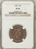 Proof Barber Quarters: , 1909 25C PR63 NGC. NGC Census: (32/167). PCGS Population (62/124). Mintage: 650. Numismedia Wsl. Price for problem free NGC...