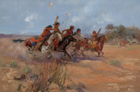 OSCAR EDWARD BERNINGHAUS (American, 1874-1952) Frolic on the Plains, circa 1900 Oil on canvas 24