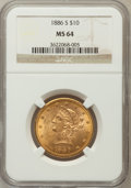 Liberty Eagles: , 1886-S $10 MS64 NGC. NGC Census: (18/0). PCGS Population (13/0).Mintage: 826,000. Numismedia Wsl. Price for problem free N...