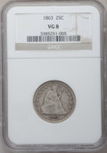 Seated Quarters: , 1863 25C VG8 NGC. NGC Census: (1/55). PCGS Population (0/78).Mintage: 191,600. Numismedia Wsl. Price for problem free NGC/...
