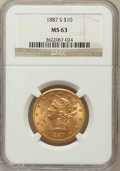 Liberty Eagles: , 1887-S $10 MS63 NGC. NGC Census: (62/10). PCGS Population (82/2).Mintage: 817,000. Numismedia Wsl. Price for problem free ...