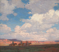EDGAR ALWIN PAYNE (American, 1883-1947) Navajo Country Oil on canvas 33 x 37 inches (83.8 x 94.0