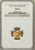 Commemorative Gold: , 1915-S G$1 Panama-Pacific Gold Dollar MS63 NGC. NGC Census:(483/2508). PCGS Population (993/3619). Mintage: 15,000. Numism...